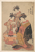 The Oiran Sugawara of Tsuru-ya seated beside a hibachi (fire box)