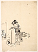 Young Woman Leaning over a Tall Lamp