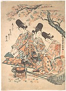 Parody of Palace Servants Heating Sake over a Fire of Maple Leaves