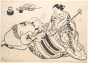 A Man in a Kneeling Posture Bending Forward and Listening to an Oiran who is Playing the Shamisen