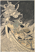 Minamoto Yoshitsune and His Retainer, the Monk Benkei, Putting to Flight the Ghost of Taira no Tomomori