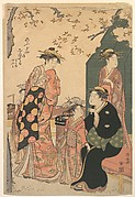 Portrait of the Courtesan Nioteru of the Ogiya, with Her Two Attendants Namiji and Aō-mi