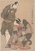 Bandō Hikosaburō III in the Role of Obiya Chōemon and Iwai Hanshiro IV in the Role of Shinanoya Ohan