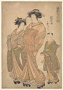 The Oiran Wakoku of Echizen-ya attended by a Shinzo and a Kamuro