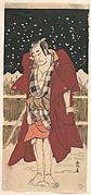 Onoe Matsusuke as Man Armed with a Sword, Standing in Snow before a Fence