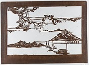 Stencil with Pattern of Seascape on White Ground