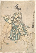 Actor Sanokawa Ichimatsu as Young Samurai riding on Horse-back