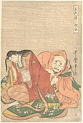 """The Poet Sōjō Henjō (816–890) Slipping a Letter into a Woman's Sleeve,"" from the series Five Colors of Love for the Six Poetic Immortals (Goshiki-zome rokkasen)"