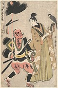 Souvenir Paintings from Ōtsu, Stocked in Edo (Edo shi-ire Ōtsu miyage) Foot-soldier with a Spear and Hawk-handler (Yari mochi yakko to taka shō)