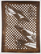 Stencil with Pattern of Boats and Reeds on a Checked Background