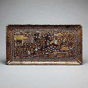 Rectangular Tray with Scene from the Tale of Genji