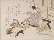 Nobleman Receiving a Kyoka (Humorous Poem) from Shibanoya Sanyo, a Master of Kyoka