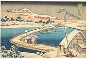 Old View of the Boat-bridge at Sano in Kōzuke Province (Kōzuke Sano funabashi no kozu), from the series Remarkable Views of Bridges in Various Provinces (Shokoku meikyō kiran)
