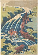 The Waterfall Where Yoshitsune Washed His Horse at Yoshino in Yamato Province (Washū Yoshino Yoshitsune uma arai no taki), from the series A Tour of Waterfalls in Various Provinces (Shokoku taki meguri)