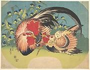Rooster, Hen and Chicken with Spiderwort