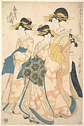 The Oiran Hanaogi of Ogiya attended by Two Shinzo and Her Kamuro Yoshino