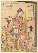 Three Young Women and a Small Boy on a Balcony, Watching the Flight of an Onakadori