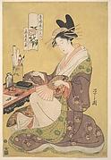 """""""Hanaōgi of the Ōgiya,"""" from the series Beauties of the Yoshiwara as Six Floral Immortals (Seirō bijin rokkasen)"""