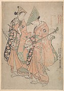 Onoe Kikugorō in the role of Yaoya Oshichi and Nakamura Kiyosaburō as Her lover the koshō (page) Kichisaburō
