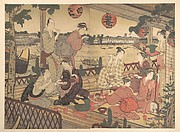 Two Young Men and Several Women Dining at a Tea-house on the Bank of the Sumida River