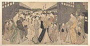 Oiran and Attendants at the Ō Mon or Great Gate of the Yoshiwara