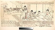 Two Court Ladies (Goten Jochu) and a Geisha at a Restaurant