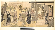 "A Disguised Scene from The Tale of Genji (Fūryū Yatsushi Genji), Chapter 33, ""Wisteria Leaves (Fuji no uraba)"""
