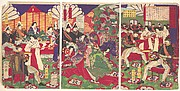 Leaders of the Pacification of the Kagoshima Rebels Celebrating with Cups of Wine from the Emperor (Kagoshima zokuto chinsei ni yotte shoshō tenhai chōdai no zu)
