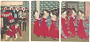 Illustration of Ladies-in-waiting boarding at a station (Kanjo sutēshon chakusha zu)