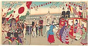 Visit of the Empress to the Third National Industrial Promotional Exhibition at Ueno Park  (Ueno dai sankai  naikoku kangyō hakuran kai gyokō no zu)