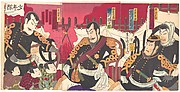 Ichikawa Kodanji as Seppu Shinsuke, Ichikawa Sadanji as Kishino Toshiaki, Ichikawa Danjūrō as Saijō Takamori, Onoe Kikugorō as Kurata Shinpachirō, Nakamura Chūtarō as Shōtarō, Onoe Kikunosuke as Magoichi, and Ichikawa Kōsaku as Tokumaru in the play Okige no kumo harau asa gochi