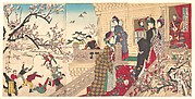 Women Viewing Plum Blossoms and Children Playing in the Snow