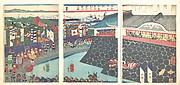 Hideyoshi and His Troops Leaving Nagoya Camp (Mashiba Hideyoshi kō nagoya jin saki te no shoshō kuridashi no zu)