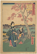 Plum-blossom viewing in the third month at Sumida River from the series  Annual Events at Famous Places in the Eastern Capital  (Tōto meisho nenjū gyōji sangatsu sumitagawa waka mōde)