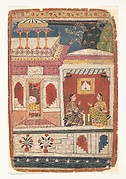 Radha and Her Confidant Sit in an Open Room: Page from a Dispersed Rasikapriya