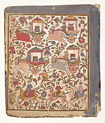 Procession of Carriages Carrying Booty: Page from a Dispersed Bhagavata Purana Manuscript