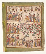 Yashoda Binds Krishnas Hands: Page from a Dispersed Bhagavata Purana Manuscript
