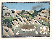 The Monkey King Vali&#39;s Funeral Pyre; from a Ramayana series