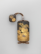 Inrō with Basket of Spring Flowers (obverse); Basket of Autumn Flowers (reverse)