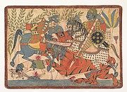 """Harishchandra and his Minister Killing a Tiger,"" folio from a Harishchandra Series"