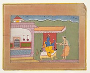 The Brahmin Delivers Rukmini&#39;s Letter to Krishna: Page from a Dispersed Bhagavata Purana (Ancient Stories of Lord Vishnu)