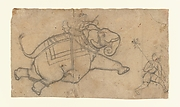 Running Elephant (recto); Practice Sheet of Elephant Sketches (verso)