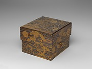 Box for Hair Ornaments (motoyui-bako) with Pine, Bamboo, Plum, and Tokugawa Family Crest on Wood-Grain Ground