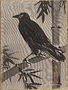 Crow on a Bamboo Branch