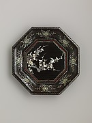 Octagonal Dish with Flowering Plum and Birds