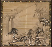 Chinese Scholar Contemplating a Waterfall