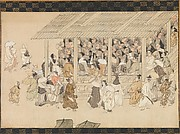 A Nenbutsu Gathering at Ichiya, Kyoto, from the Illustrated Biography of the Monk Ippen and His Disciple Ta&#39;a (Yugy Shnin engi-e)