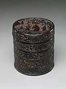 Tiered Box with Figures and Dragons amid Clouds