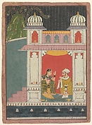 A Heroine and Her Lover in a Pavilion: Page from a Dispersed Nayikabheda