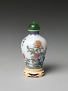 Snuff Bottle with Rocks and Peonies